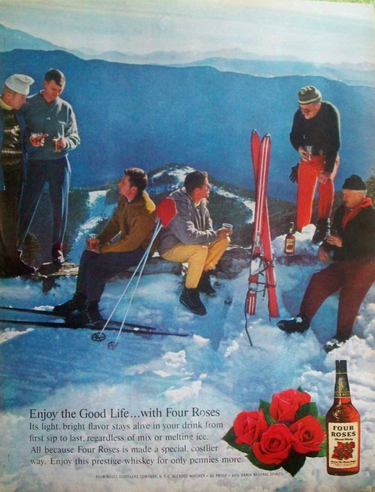 Four Roses Bourbon Ad Featuring Skiers