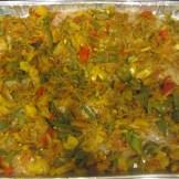 Tilapi and veggies, pre-baking