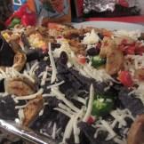 Blue corn chip nachos, not baked