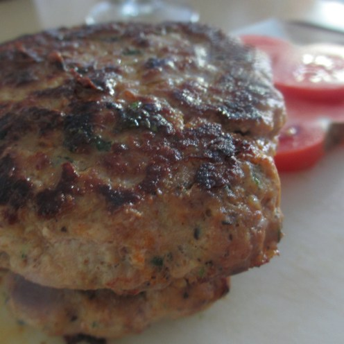 Turkey burgers, cooked