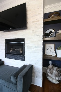 Small Of Stacked Stone Fireplace