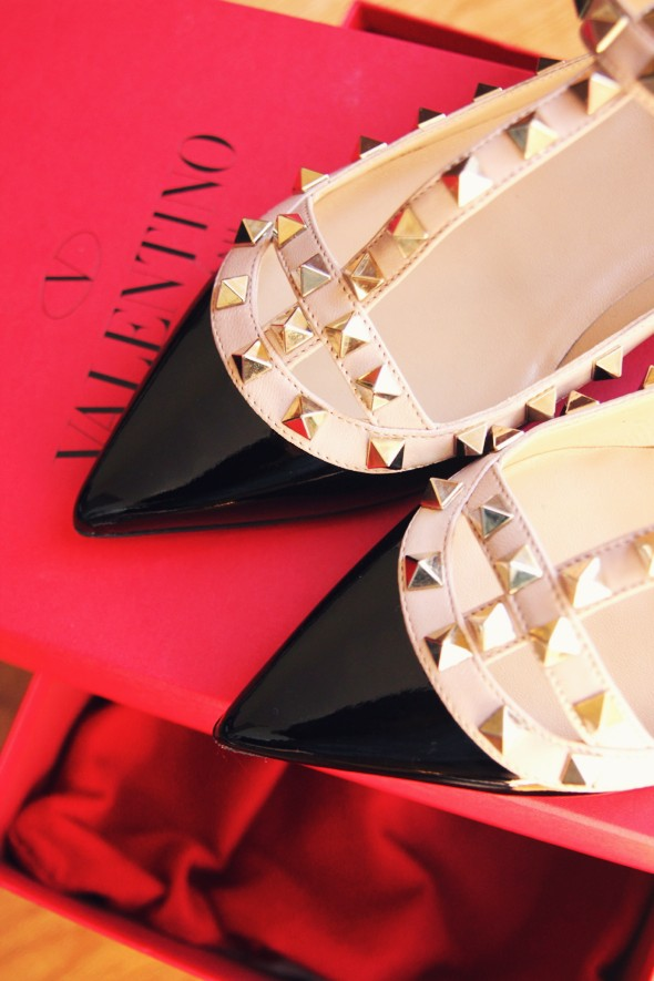 -shoes italia valentino garavani rock studs flats ballerinas black beige_effected