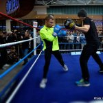 Open training session at Victoria Square today before Carl Framptons fight at The Odyssey Arena on Saturday.