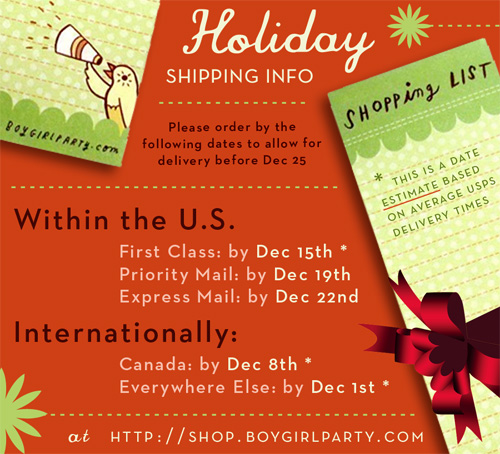 The boygirlparty shop holiday shipping schedule