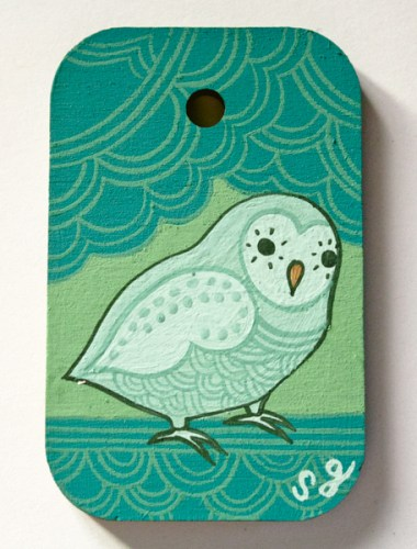 Miniature owl painting by Susie Ghahremani for sale at boygirlparty.com