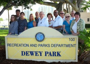 Dewey Park Dedication, Sept. 10, 2013. Boynton Beach City Commission and Boynton Beach Historical Society officers (L to R) Fran McKeral, Treasurer, Commissioner Joe Casello, Voncile Smith, 2nd Vice President, Janet DeVries, President, Steve Anton, Director, Mayor Jerry Taylor, Diana Dennis, Secretary, Commissioner Woodward Hay, Commissioner Michael Fitzpatrick, Judith Howard, Director, Randall Gill, Trustee, Ginger Pedersen, 1st Vice President.