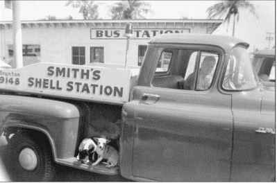 Jim Smith, owner of Smith's Shell Station in his truck. (Photo courtesy Wendy Smith Franklin)