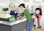 Children's Book Illustration of A Family Checking out at a Store Cash Register