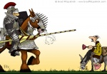Digital Illustration of a Jousting Knight vs Cody on a Donkey Mule