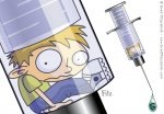 Vector Illustration of a Cartoon Boy inside a syringe