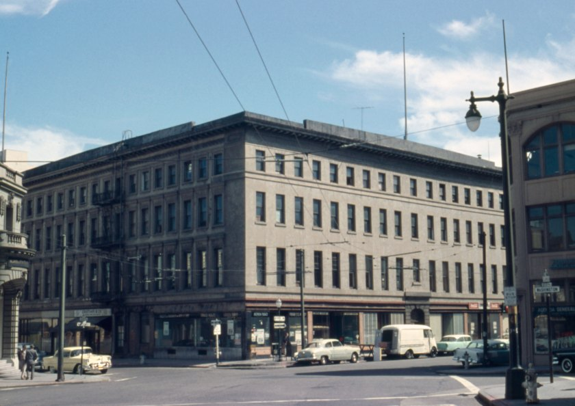View looking southeasterly at corner of Montgomery and Washington Streets, 1956