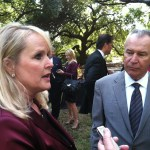 Lou and William Kennedy being interviewed after the announcement. That's USC lobbyist Trey Walker in the background.