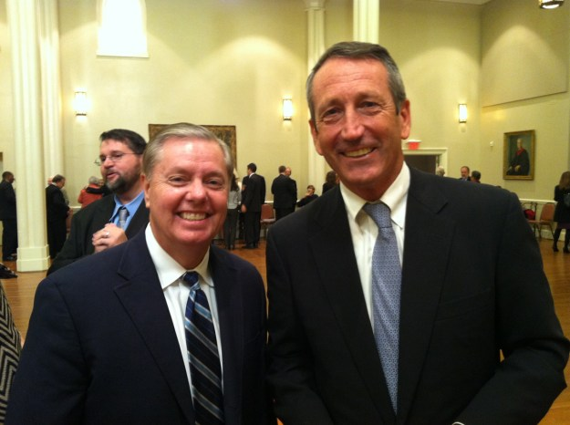 Lindsey Graham and Mark Sanford, at reception following Lee Bandy's funeral.