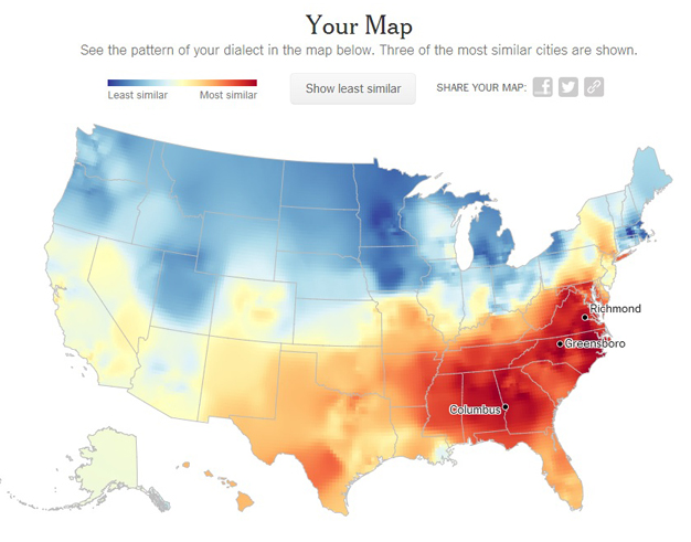 My Linguistic Map According To The NYT Bradwarthencom - Us dialect map quiz