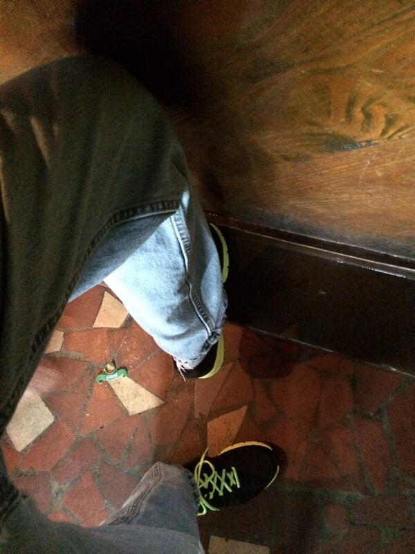 I thought it very Hemingwayan to celebrate standing in one spot, foot propped on bar.