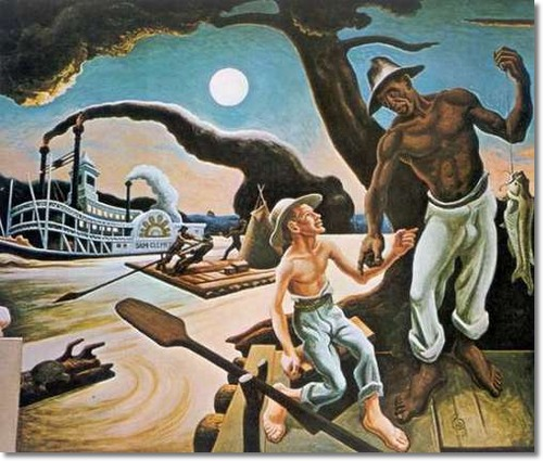 Thomas Hart Benton's depiction of Huck and Jim