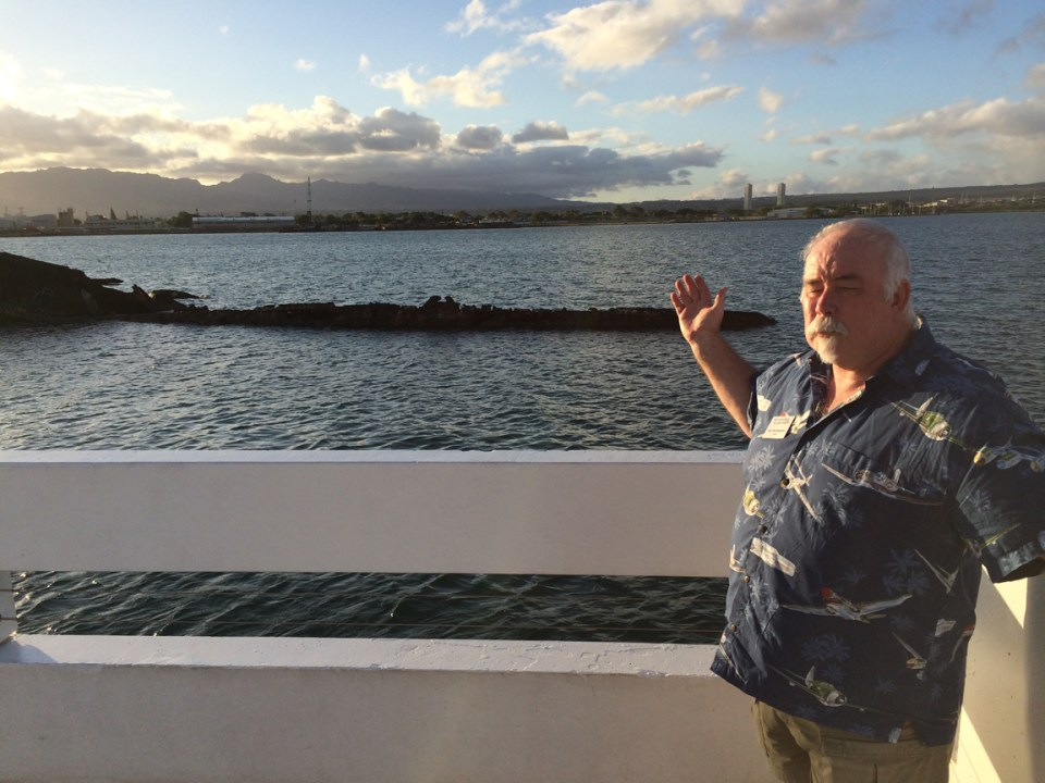 You know about the Arizona Memorial. Here, Burl shows us the rusting hulk of  sister battleship Utah, on the opposite side of the island.