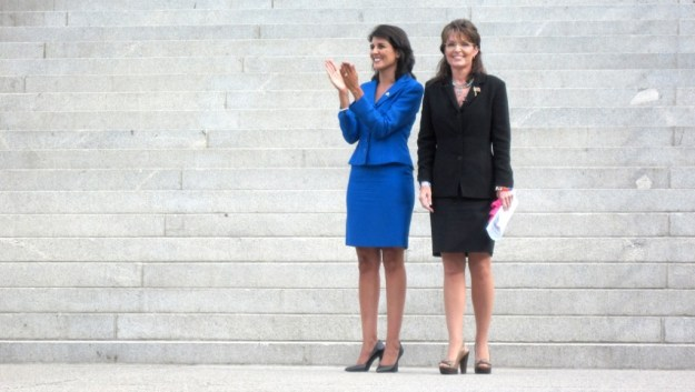 Haley back in 2010, with Sarah Palin