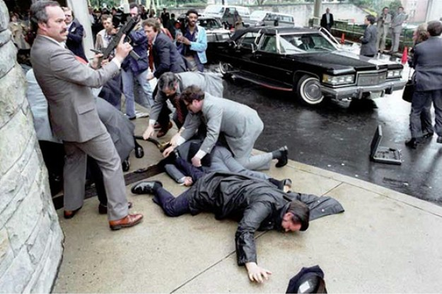 The most memorable image of the Reagan assassination attempt. In part, I recall it as the first time I ever saw an Uzi.