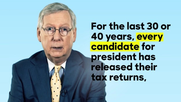 Still from a video Tweeted by the Clinton campaign, showing Republicans saying candidates should release their returns.