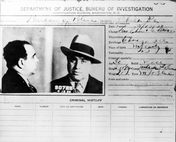 Capone's FBI rap sheet -- which seems oddly blank.