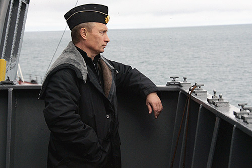 """Time for a course correction, captain!"" (Don't you love when Putin plays dress-up?)"