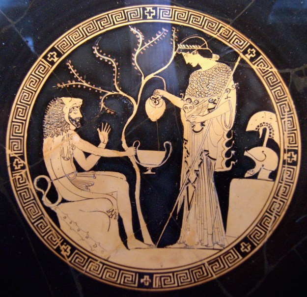 Athena, right, with Heracles.