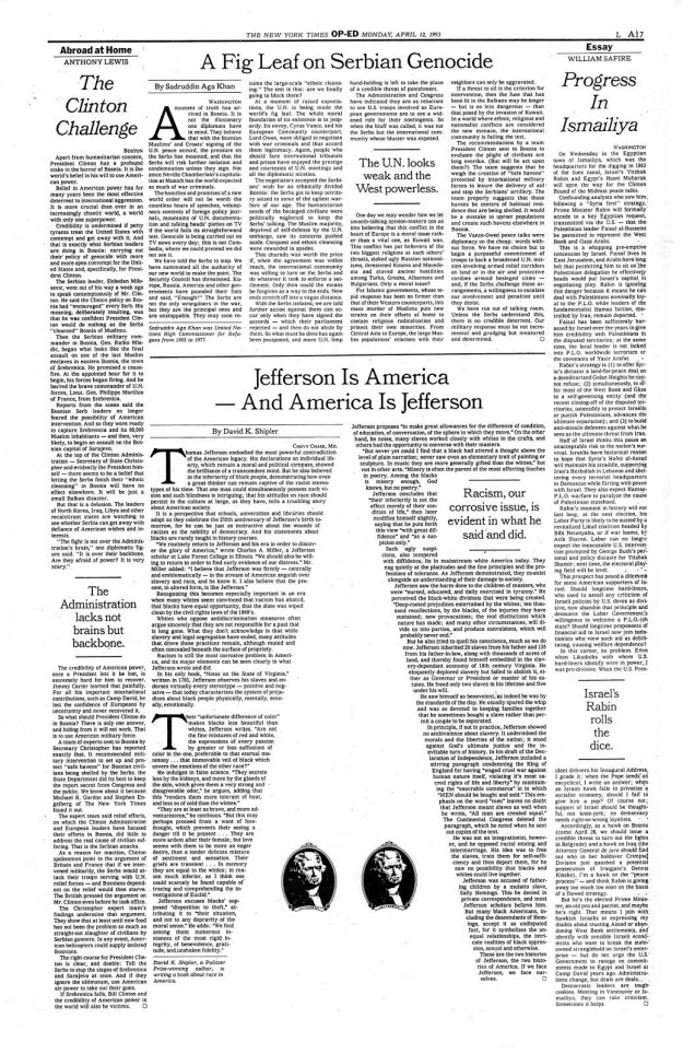 A random NYT Op-Ed page: Monday, April 12, 1993.