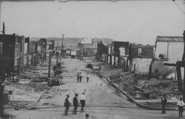 The burned-out Greenwood District after the Tulsa Race Massacre.