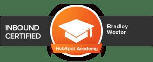 Brad Wester HubSpot Inbound Certification