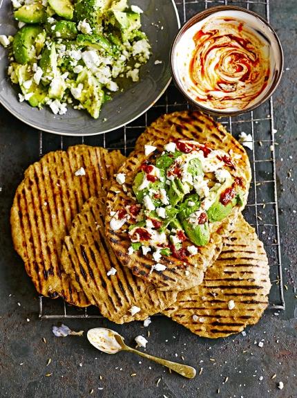 Quick Flatbreads with Avocado & Feta