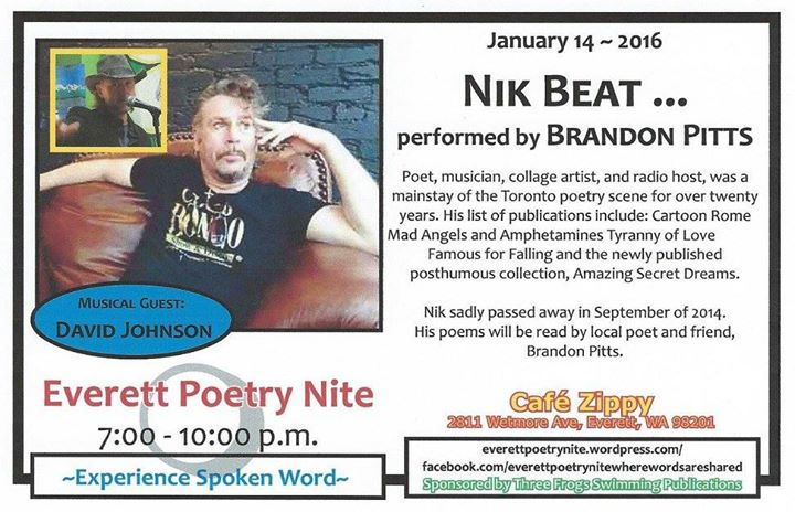 Nik Beat, Brandon Pitts, Cafe Zippy, Everett Poetry Night
