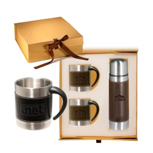 leather stainless coffee cup thermos set gifts items