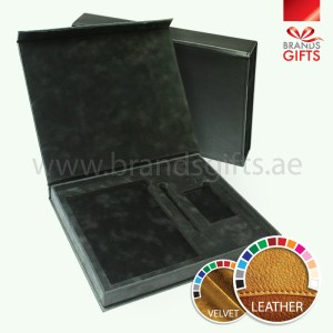 Black Velvet Leather Box with Magnetic close www.brandsgifts.ae