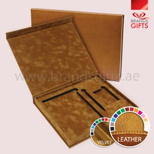 High Quality Brown Velvet Leather Luxury Boxes with amazing textured fabric www.brandsgifts.ae
