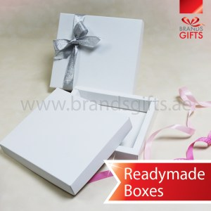 High Quality Cardboard Paper Printed Boxes in Ready made sizes with Ribbons www.brandsgifts.ae