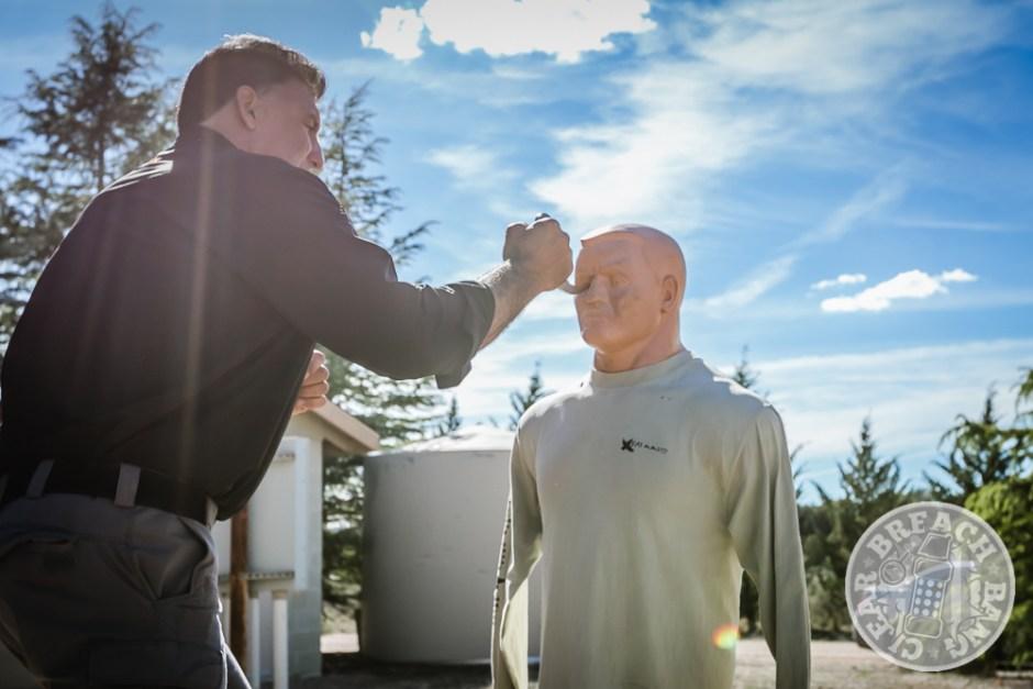 Steve Tarani demonstrates an eye gouge on Bob