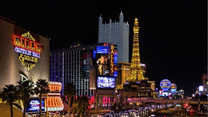 """Yinz feeling lucky tonite n'at?    (Photo credit: adapted from """"Las Vegas Strip om natten"""" © Dietmar Rabich, rabich.de, CC BY-SA 4.0, Wikimedia Commons.)"""