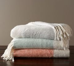 Faux Mohair Colorblock Throw