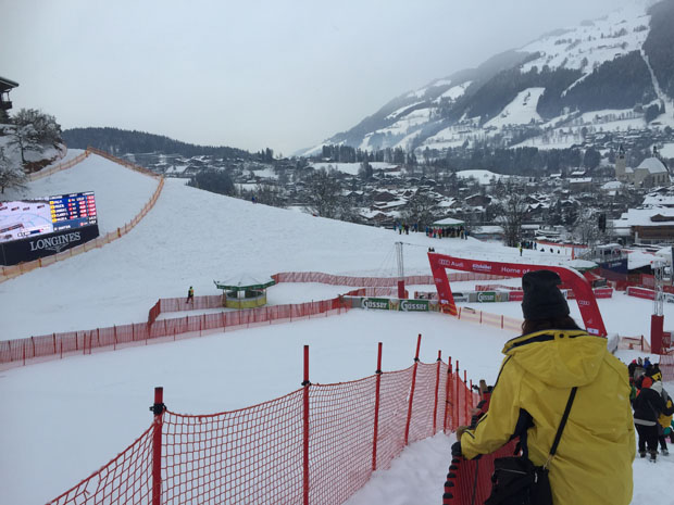 Im Zielbereich des Slaloms, der einen Tag später stattfand war unterdessen fast nichts los