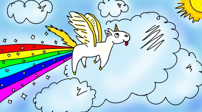 unicorn dropping rainbows