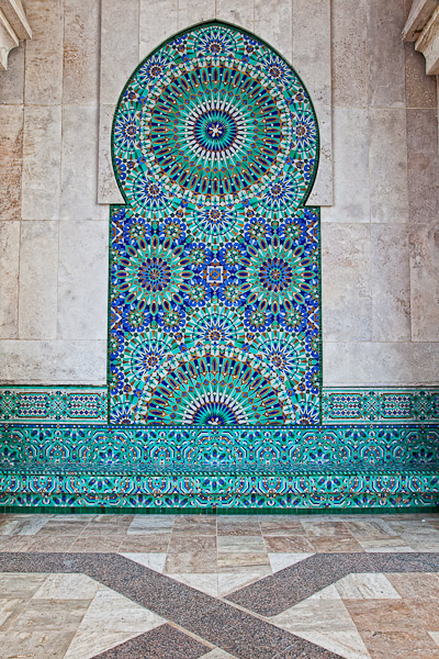 Mosaic Fountain King Hassan Mosque, Morocco
