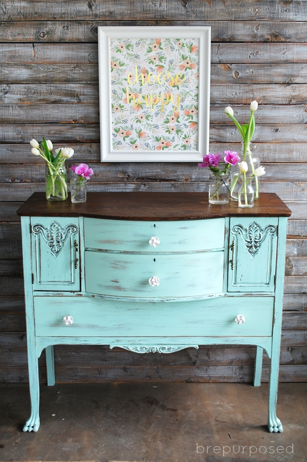 Chalky Finish Mint and Floral Buffet from Brepurposed