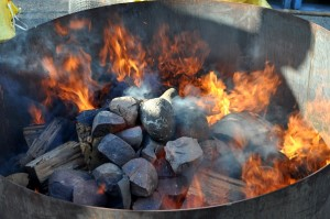 A pit of flaming rocks for the Stone Beer brew day