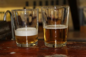 "The same beer 'sparkled' (or ""Northerned') (L) and the unsparkled, or 'Southerned' (R)"