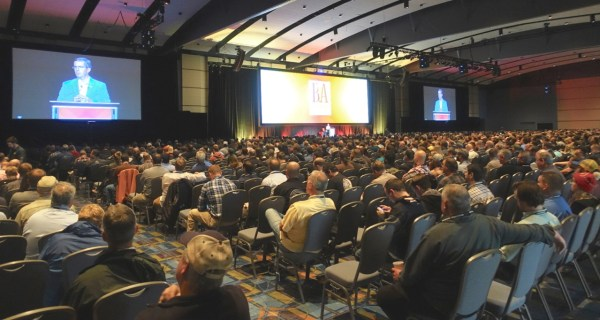 Bob Pease addresses the opening session of the Craft Brewers Conference 2016 in Philadelphia