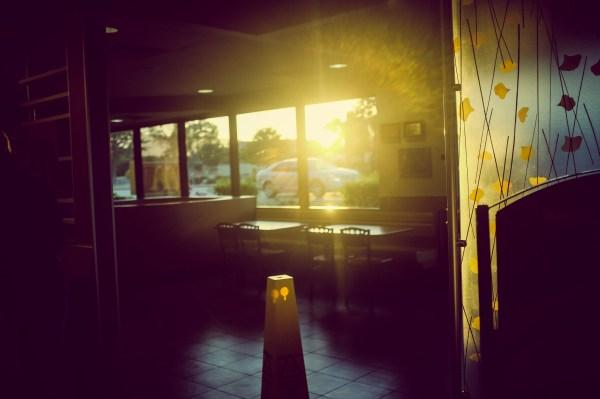 sunset through the McDonald's window