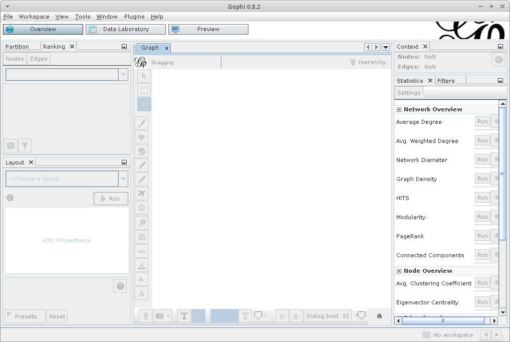 The Gephi application window