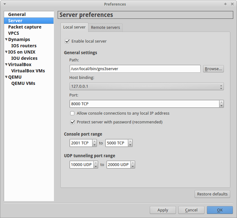Configure GNS3 1.3 GUI to connect to the correct GNS3 server settings