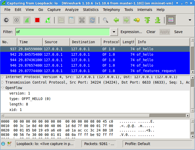 Wireshark captures and displays openFlow messages